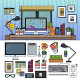 Designer working place. Thin line flat design of designer office. Designer working place. Different equipment for design. Many technics, books, pen, pencil Royalty Free Stock Photo