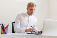 A designer working with the tablet stock photo