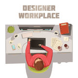 Designer Workplace Cartoon Concept. With coffee books and computer vector illustration Stock Photography