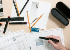 Designer workplace. Engineer projects furniture stock images