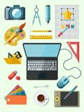 Designer workplace icons Stock Photos