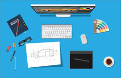 Designer workplace. Illustrator desktop with tools. Desktop pc, keyboard, mouse, glasses, notes, pen, coffee. Sketch on paper blank and graphic tablet. Vector vector illustration