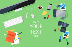 Designer workplace. Top view. Flat design. Royalty Free Stock Photo