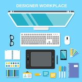 Designer workplace top view Royalty Free Stock Photography