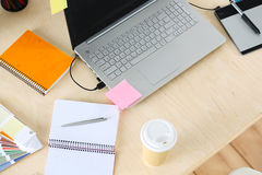 Designer workplace from top Royalty Free Stock Image