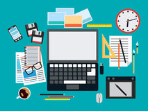 Designer workplace vector illustration Royalty Free Stock Photos