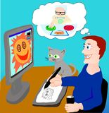 The designer works, thinking about editor royalty free illustration
