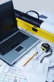 Designer workspace. Vertical image of modern designer workspace stock images
