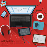 Designer Workspace Computer Top View Flat Design with red background Stock Photos