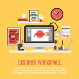 Designer Workspace Illustration Royalty Free Stock Photo