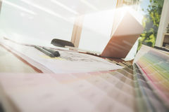 Designer workspace with laptop computer and smart phone Stock Photos