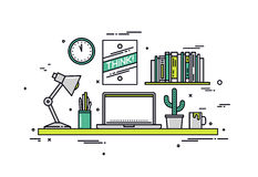 Designer workspace line style illustration. Thin line flat design of creative designer workspace, modern office desk with laptop, stylish hipster poster on wall Stock Images