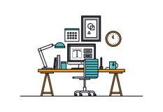 Designer workspace line style illustration Stock Image