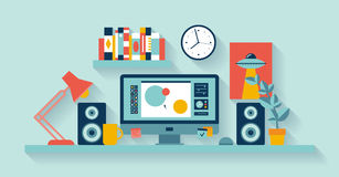 Designer workspace in the office. Flat design vector illustration of modern office interior with designer desktop showing design application with interface icons Stock Photo