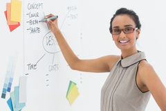 Designer writing on whiteboard and smiling at camera Stock Photos