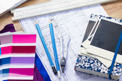 Designer& x27;s working table Stock Photography