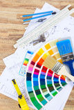 Designer& x27;s working table Royalty Free Stock Photography