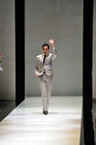 Designer Zac Posen receiving bouquet of flowers after his show at Audi Fashion Festival 2012 Stock Photo