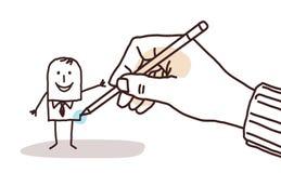 Designerhand, die einen Karikaturgeschäftsmann zeichnet stock abbildung