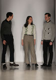 Designers Alex Orley, Samantha Orley and Matthew Orley walk the runway at the Orley fashion show during MBFW Fall 2015 Royalty Free Stock Images