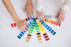 Designers Choosing Shade of Paint royalty free stock photography