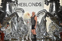 Designers David Blond and Phillipe Blond appear on the runway at The Blonds fashion show Royalty Free Stock Image