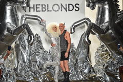 Designers David Blond and Phillipe Blond appear on the runway at The Blonds fashion show Royalty Free Stock Photos