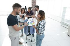Designers discussing the color palette in the Studio. Photo with copy space royalty free stock photos