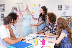 Designers in meeting. Attractive fashion designers in meeting royalty free stock photos