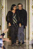 Designers Miriam Cividini and Piero Cividini acknowledge the applause of the public after Cividini fashion show. MILAN, ITALY - SEPTEMBER 26: Designers Miriam Royalty Free Stock Photos