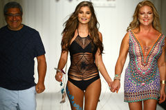 Designers and model walk runway in designer swim apparel during the Luli Fama Swimwear fashion show Royalty Free Stock Photos