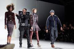 Designers and models walk runway at the New York Life fashion show during MBFW Fall 2015 Royalty Free Stock Images