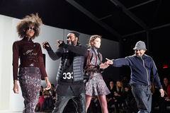 Designers and models walk the runway at New York Life fashion show during MBFW Fall 2015 Royalty Free Stock Photography