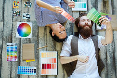 Designers with palettes royalty free stock photography