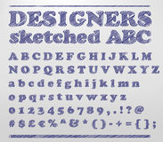 Designers sketched ABC. Vector illustration of a sketched alphabet numbers and symbols doodles Royalty Free Stock Photos