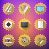 Designers stuff Flat icon set include Desktop, Camera, Graphic T Royalty Free Stock Images