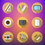 Designers stuff Flat icon set include Desktop, Camera, Graphic T stock illustration