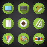 Designers stuff Flat icon set include Desktop, Camera, Graphic T Royalty Free Stock Photo