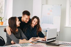 Designers team drawing working with color samples royalty free stock image