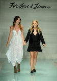 Designers Tess Hamilton and Ali Hoffmann walk the runway finale during For Love and Lemons Spring Summer 2017 Runway Show. MIAMI, FL - JULY 17: Designers Tess Royalty Free Stock Photography