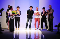 Designers thanking guests after the show at Audi Fashion Festival 2011 Royalty Free Stock Photo