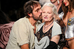 Designers Vivienne Westwood & Andreas Kronthaler the runway during the Vivienne Westwood show stock photos