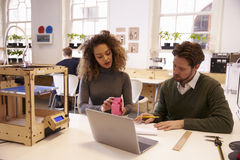 Designers Working With 3D Printer Discuss Prototype Royalty Free Stock Images
