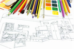 Designers workplace with drawing tools Stock Photo