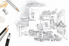 Designers workplace with graphical sketch of living room Stock Photo