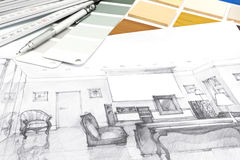 Designers workplace with sketch and drawing tools Royalty Free Stock Photo