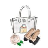Designertasche und flache Schuhe Stockbild