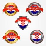 Designetikett av gjort i Kroatien också vektor för coreldrawillustration stock illustrationer
