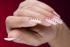 designfingrar manicure original fotografering för bildbyråer