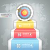 Designgeschäftstreppenhaus, zum von Begriffs-infographics anzuvisieren Lizenzfreie Stockfotos